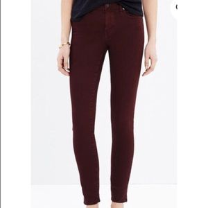 """MADEWELL 9"""" High-Rise Red Skinny Jeans Size 26"""